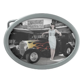 Hot Rod Sedan Flames Vintage Theater Pin Up Girl Belt Buckles