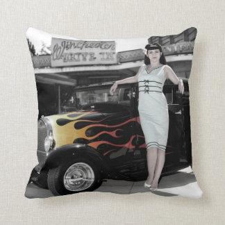 Hot Rod Sedan Flames Vintage Theater Pin Up Girl Cushion