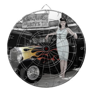 Hot Rod Sedan Flames Vintage Theater Pin Up Girl Dartboard