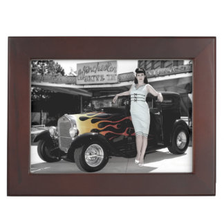Hot Rod Sedan Flames Vintage Theater Pin Up Girl Keepsake Box