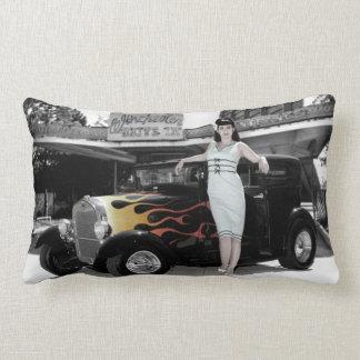 Hot Rod Sedan Flames Vintage Theater Pin Up Girl Lumbar Cushion