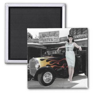 Hot Rod Sedan Flames Vintage Theater Pin Up Girl Magnet