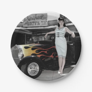 Hot Rod Sedan Flames Vintage Theater Pin Up Girl Paper Plate