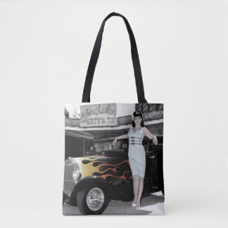 Hot Rod Sedan Flames Vintage Theater Pin Up Girl Tote Bag
