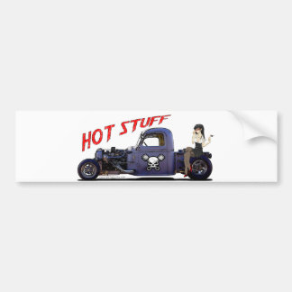 Hot Rod Truck with a Girl Bumper Sticker