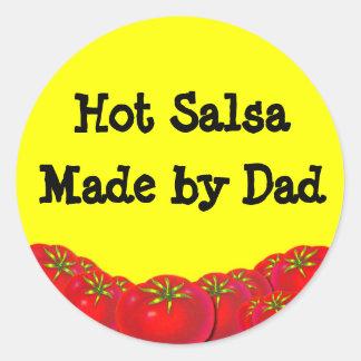 Hot Salsa Retro Custom Canning Labels Round Sticker