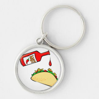 Hot sauce dripping on taco keychains