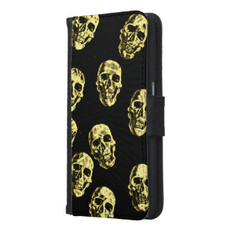 Hot Skulls,eggshell Samsung Galaxy S6 Wallet Case