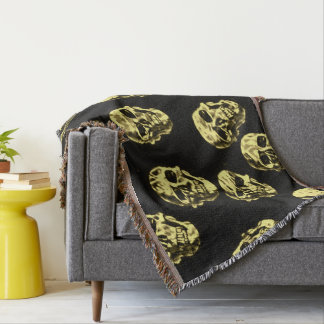 Hot Skulls,eggshell Throw Blanket