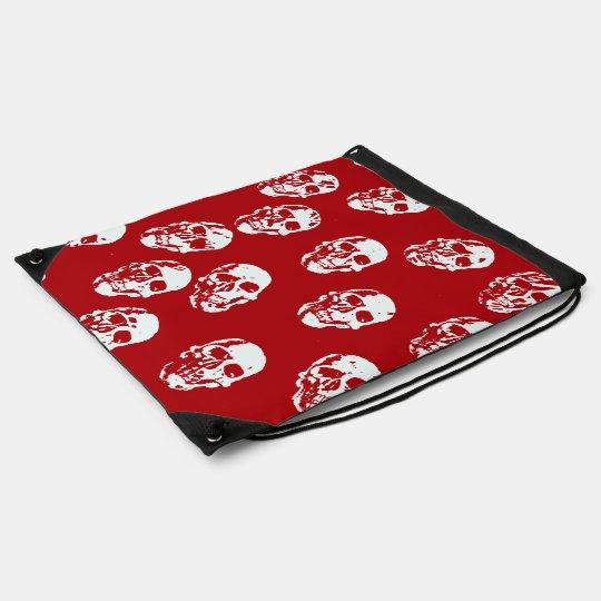 Hot Skulls,red white Drawstring Bag