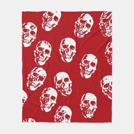 Hot Skulls,red white Fleece Blanket