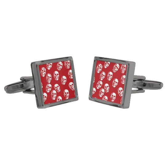Hot Skulls,red white Gunmetal Finish Cuff Links