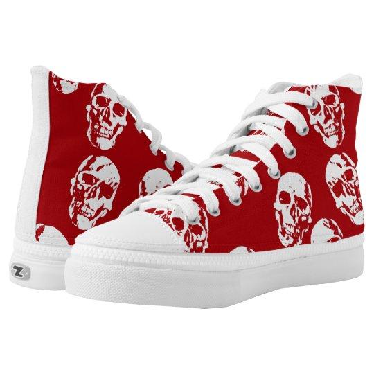 Hot Skulls,red white High Tops