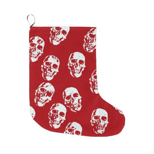 Hot Skulls,red white Large Christmas Stocking