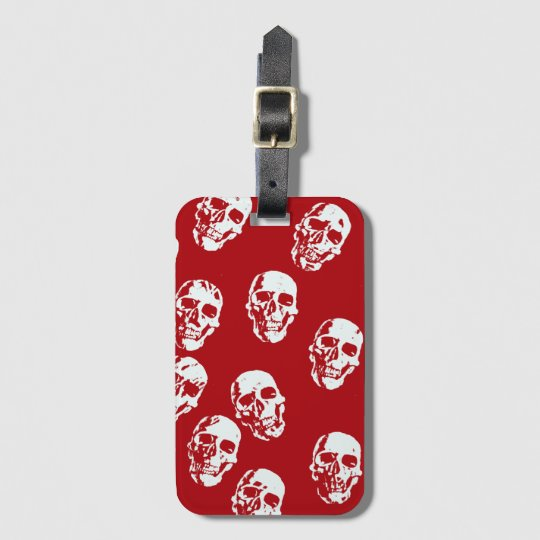 Hot Skulls,red white Luggage Tag