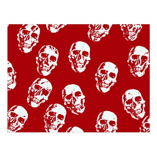 Hot Skulls,red white Postcard