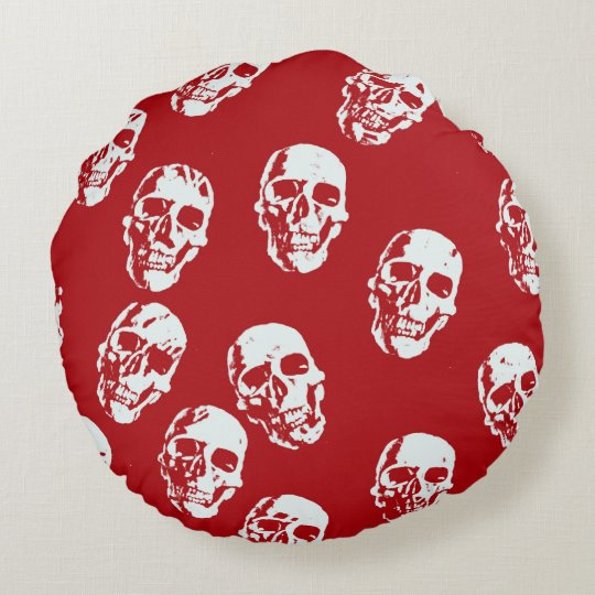 Hot Skulls,red white Round Cushion