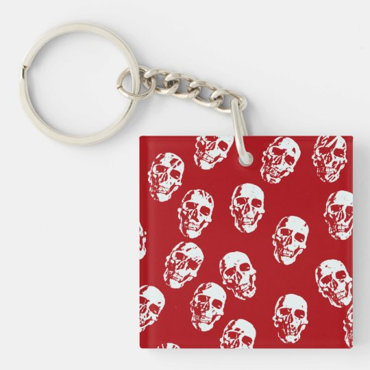 Hot Skulls,red white Single-Sided Square Acrylic Key Ring