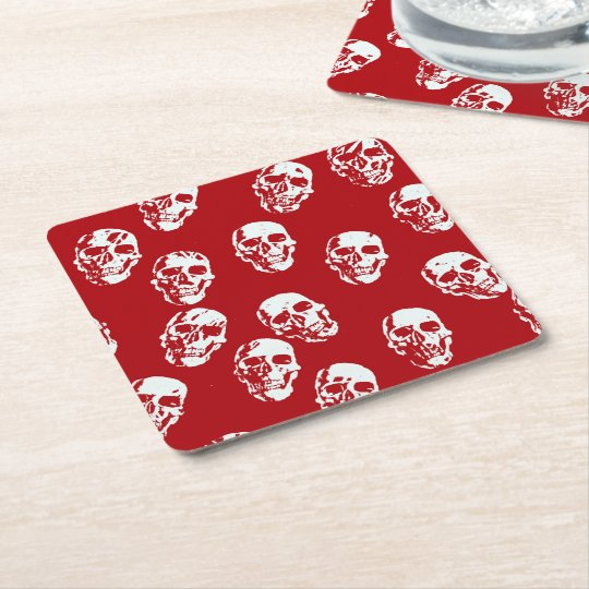 Hot Skulls,red white Square Paper Coaster