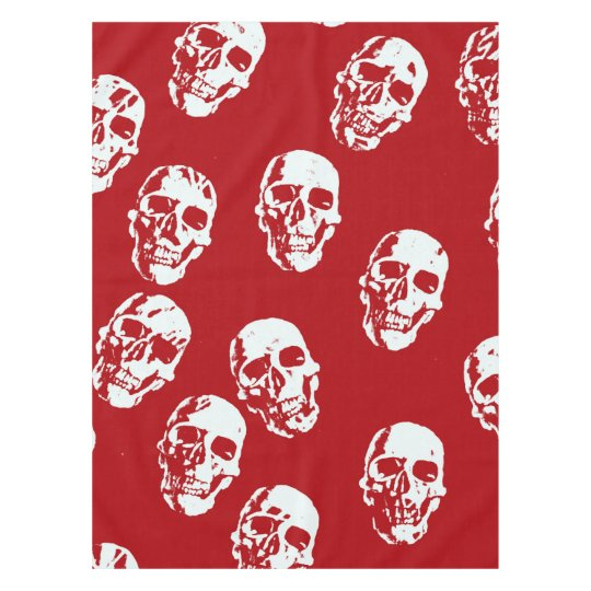 Hot Skulls,red white Tablecloth