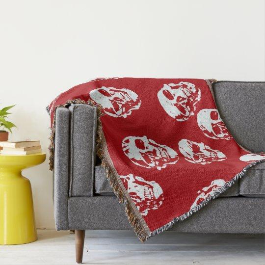 Hot Skulls,red white Throw Blanket