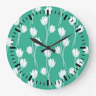 Hot Summer Green Floral Pattern Large Clock