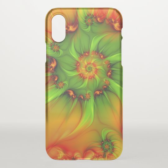 Hot Summer Green Orange Abstract Colourful Fractal iPhone X Case