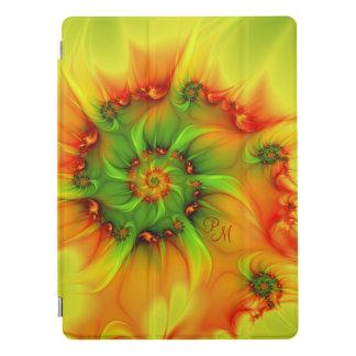 Hot Summer Green Orange Abstract Fractal Monogram iPad Pro Cover