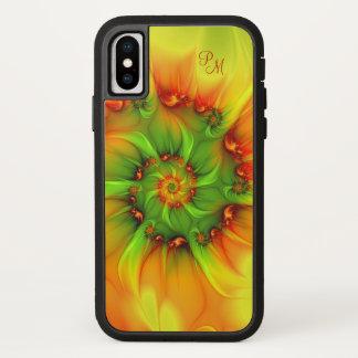Hot Summer Green Orange Abstract Fractal Monogram iPhone X Case