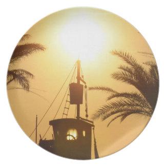Hot summer ship palms sun photo decorative plate
