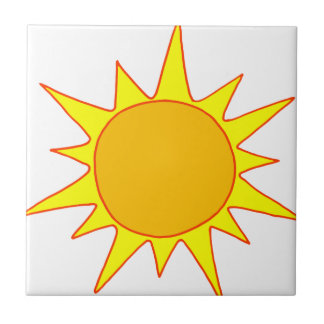Hot Sun Cartoon Small Square Tile