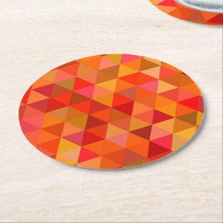 Hot sun triangles round paper coaster