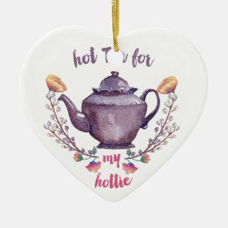 Hot tea for hottie art in vintage watercolor style ceramic ornament