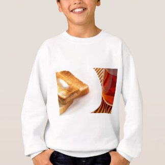 Hot toast with butter and cup of tea sweatshirt