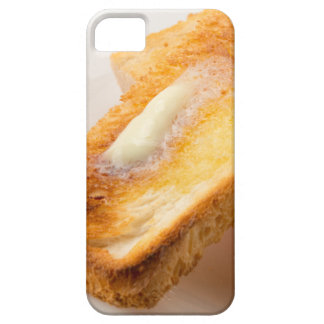Hot toast with butter on a white plate close-up iPhone 5 cover