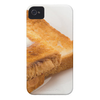 Hot toast with butter on a white plate iPhone 4 case