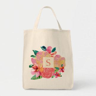 Hot Tropical Floral Splash with Monogram Tote Bag