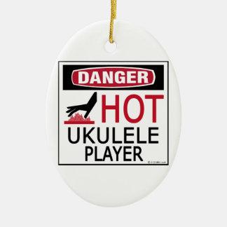 Hot Ukulele Player Ceramic Ornament