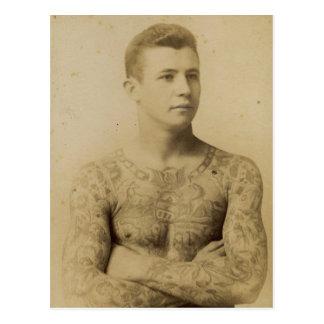 Hot Vintage Tattoo Man Postcard