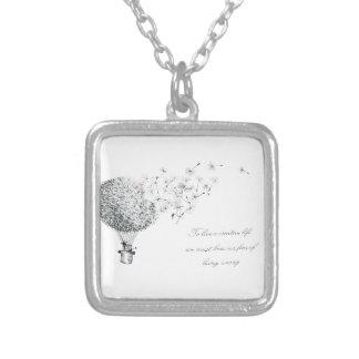 hotair dandylion silver plated necklace