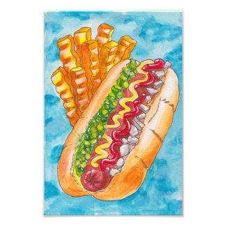 Hotdog and Fries Photo Print