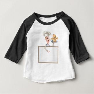 Hotdog Cartoon Chef Signboard Baby T-Shirt