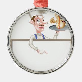 Hotdog Cartoon Chef Signboard Metal Ornament