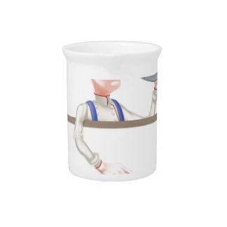 Hotdog Cartoon Chef Signboard Pitcher