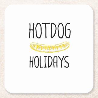 Hotdog Holidays Party Family Funny Square Paper Coaster