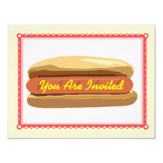 Hotdog Invitation- Summer Backyard Barbque Cookout 11 Cm X 14 Cm Invitation Card