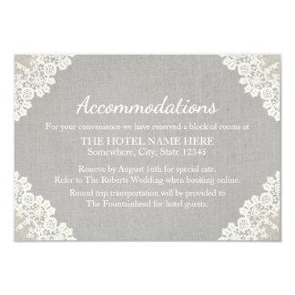 Hotel Accommodation | Rustic Lace & Grey Linen 9 Cm X 13 Cm Invitation Card