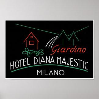 Hotel Diana Majestic Milano Label Poster