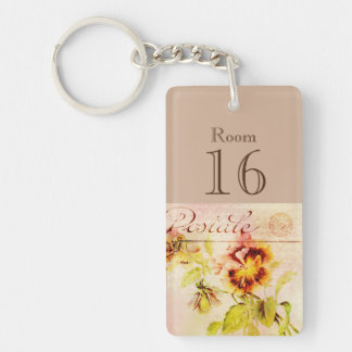 Hotel lodge resort room key (double sided) key ring