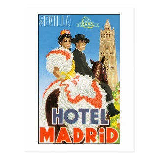 Hotel Madrid Vintage Travel Poster Postcard